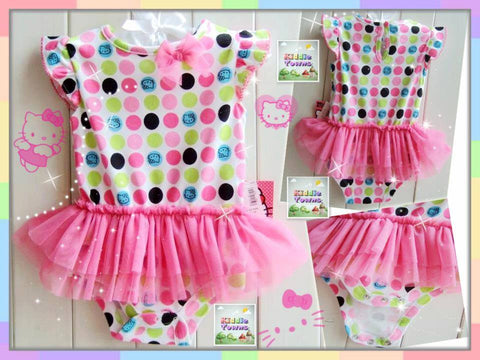 READY STOCK: Kitty Rainbow Polka Dots Lace Romper Dress [RP_KITTY_02]
