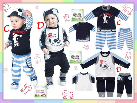 SALES: ALFONSO Doggie Series 2pcs Set (Long Sleeve Tee + Long Pant) (Design C) [DOGGIE_SET]