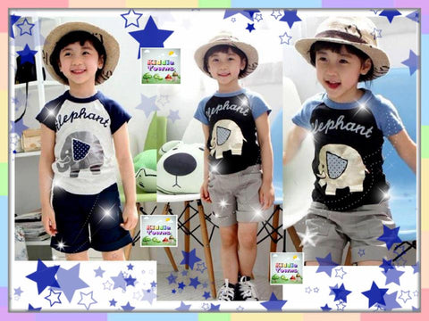 SALES: Boy ELEPHANT 2pcs Set (Tee + Pant) [BOYSET_ELEPHANT]