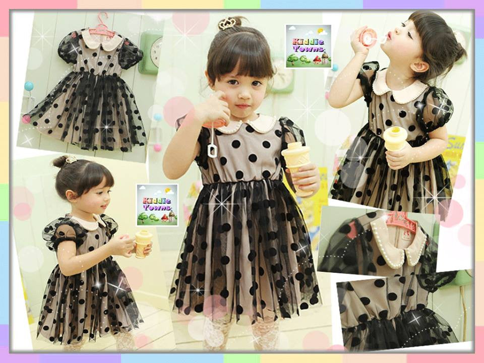 SALES: Dolly Collar Polka Dots Princess Dress (BLACK) [KIDS_DRESS_031]