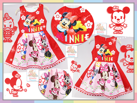 READY STOCK: Floral Beautiful Princess Dress (MINNIE) (RED) [GIRL_DSNY_48]