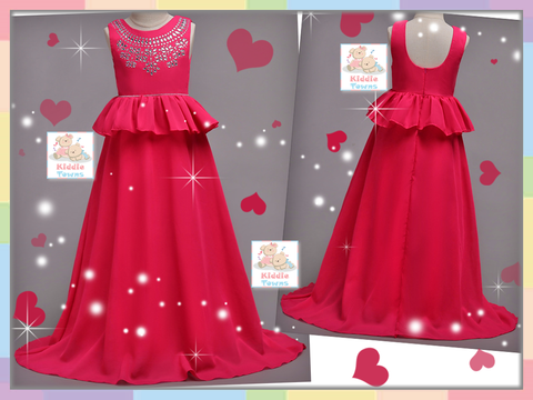 READY STOCK: Bedazzled Jeweled Long Ballroom Gown (DARK PINK) [PRETTY_NYG_46A]