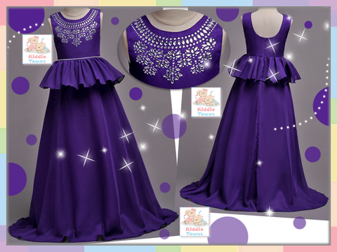 READY STOCK: Bedazzled Jeweled Long Ballroom Gown (DARK PURPLE) [PRETTY_NYG_46F]