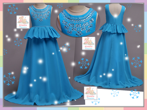 READY STOCK: Bedazzled Jeweled Long Ballroom Gown (SKY BLUE) [PRETTY_NYG_46S]