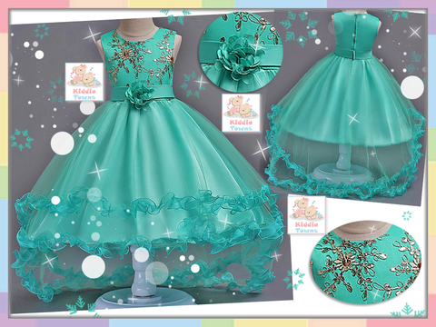 READY STOCK: Luxuriously Glitz Dove Tail Ballroom Gown (TURQUOISE) [PRETTY_NYG_43T]