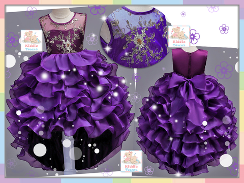 READY STOCK: Sparkling Elegant Diamante Dove Tail Ballroom Gown (PURPLE) [PRETTY_NYG_44F]
