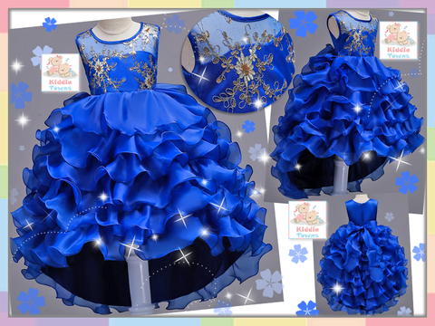 READY STOCK: Sparkling Elegant Diamante Dove Tail Ballroom Gown (ROYAL BLUE) [PRETTY_NYG_44B]