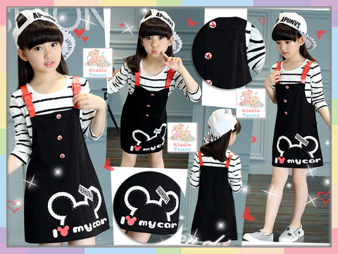 READY STOCK: Big Girl Mickey Head Jumper Dress Long Sleeve Girlset 2pcs (BLACK) [GIRLSET_SPRING_11]