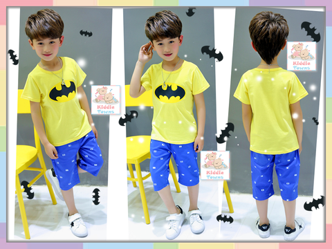 READY STOCK: Big Boy BATMAN Boyset 2pcs Set (Tee + Pant) (YELLOW) [BOYSET_BATMAN]