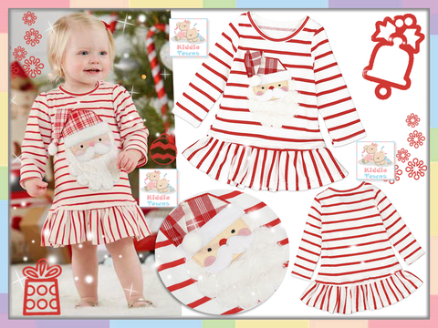 SALES: XMAS Santa Hat Long Sleeve Dress (RED STRIPE) [CUTIE_W25]