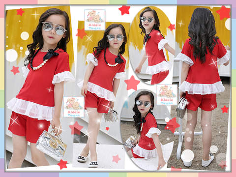 READY STOCK: Trendy Fashion Trumpet Sleeve Girlset (RED) [SUMMER_GIRLSET_21]