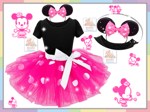 SALES: Polka Dots Minnie Girl Tutu Dress (PINK) (With Headband) [GIRL_DSNY_35B]