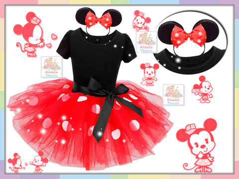 SALES: Polka Dots Minnie Girl Tutu Dress (RED) (With Headband) [GIRL_DSNY_35A]