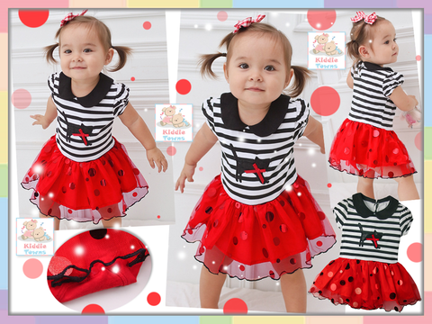 READY STOCK: Cutie Kitty Stripe Spotty Romper Dress (RED) [WAWA_050]
