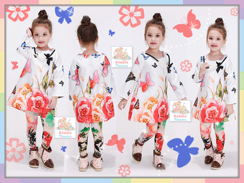 READY STOCK: Spring Floral Long Sleeve Girlset [GIRLSET_SPRING_12]