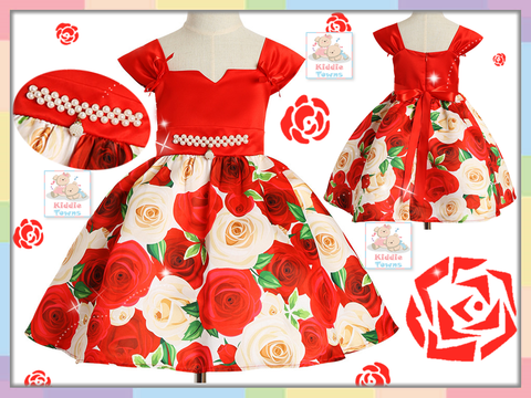 READY STOCK: Scattered Rose Flower Frosting Gown (RED) [EUR_GIRL_DRESS_28]