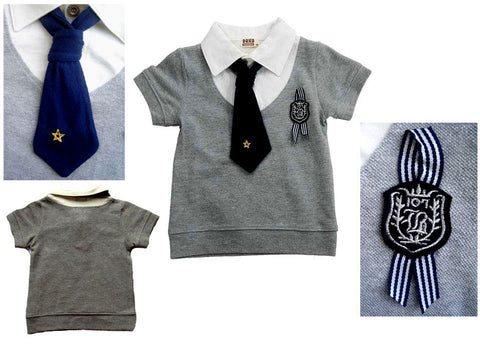 SALES: College Style Fake 2pcs Tee with Tie (GREY) [COLLEGE_SMART_02]