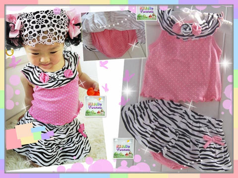 READY STOCK: Baby Girl PINK ZEBRA 2pcs Set [LOVE_BB_SET03]