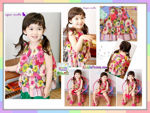 SALES: Sleeveless Flowery Layer Top (RED) [KIDS_D12A]