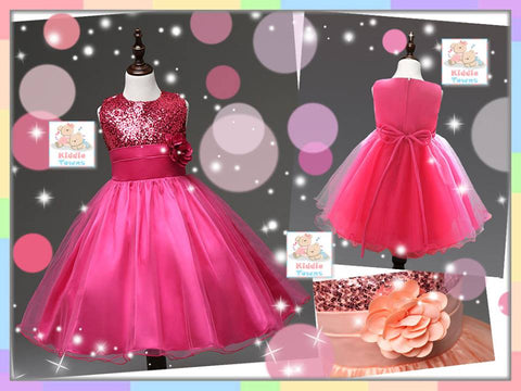 READY STOCK: Glistening Sequins Party Baby Gown (DARK PINK) [LOVE_PRINCESS_20A]