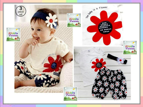SALES: Baby is the Flower 3pcs Set (Top + Pant + Hairband) [SUMMER_DRESS_03]