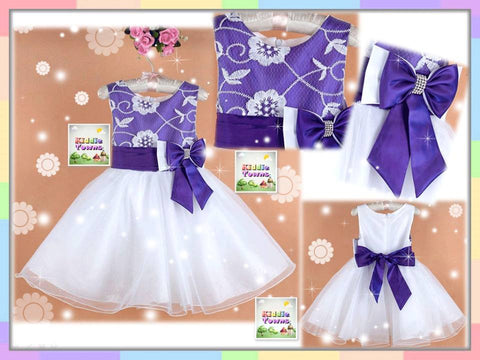SALES: Flowery Purple Top Big Ribbon Gown (PURPLE) [PRETTY_D54]
