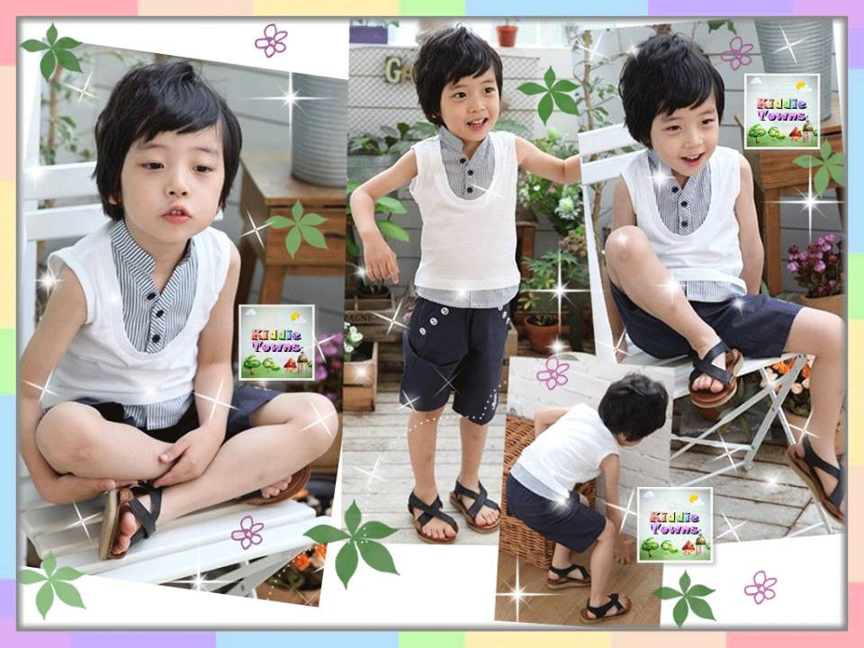 READY STOCK: Smart Sleeveless Fake 2pcs Vest Type Set (Top + Pant) [COLLEGE_SMART_05]