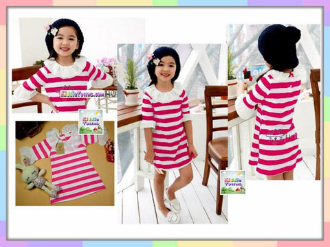SALES: Girl Wide Stripe Long Sleeve Dress (PINK) [KORN_LSDRESS_04]