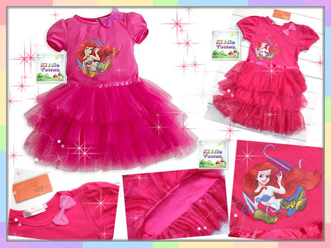 SALES: Mermaid Layer Tutu Dress (DARK PINK) [GIRL_DISNEY_06]