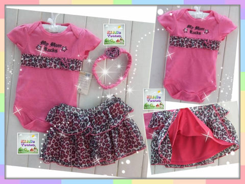 READY STOCK: Baby PINK LEOPARD 3pcs Set [LOVE_BB_SET05]