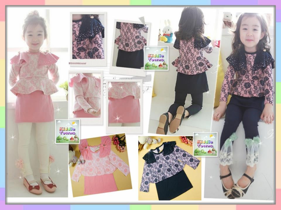 READY STOCK: Girl Lace Flower Printing 2pcs Set (Top + Lace Butterfly Legging) [GIRLSET_LACE_FLOWER]