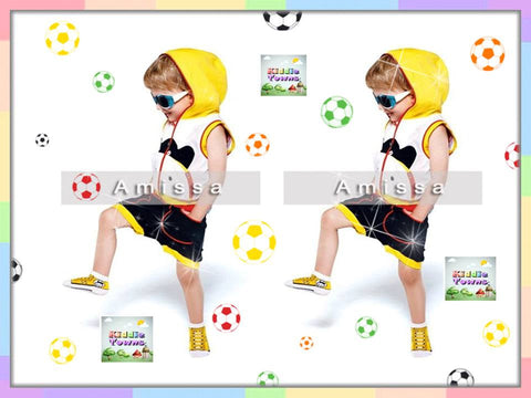 SALES: Boy Sleeveless YELLOW Hoodies 2pcs Set (Tee + Pant) [RP_BOYSET_YELLOW]