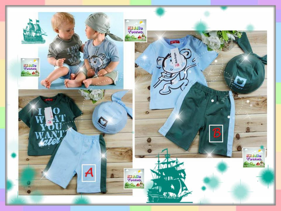 SALES: Cute Boy 3pcs Set (Tee + Pant + Hat) [RP_BOYSET_A01]
