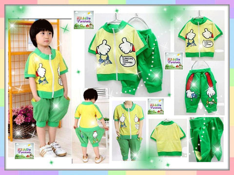 SALES: Thumbs Up Zipper 2pcs Set (GREEN) [SPORTSET_THUMBS]