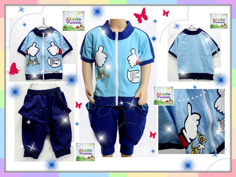 SALES: Thumbs Up Zipper 2pcs Set (BLUE) [SPORTSET_THUMBS]
