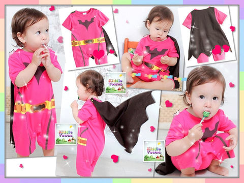 READY STOCK: Batman Girl Hoodies Romper With Cape [RP_HERO_G01]