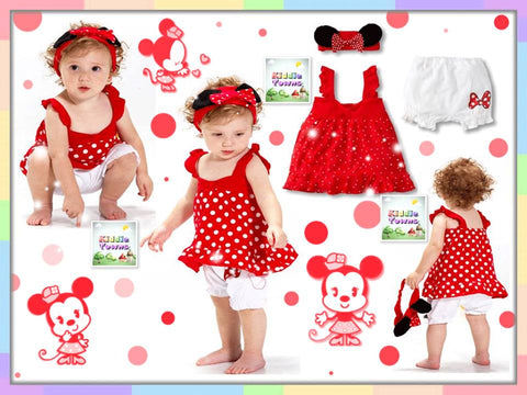 READY STOCK: New Disney Cutie Girl 3pcs set (Headband + Dress + Pant) (RED) [DISNEY_SETB]