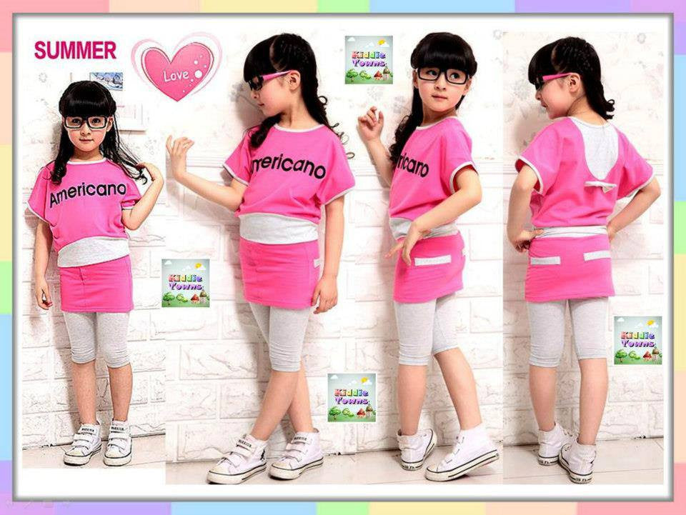SALES: Girl Americano Summer 2pcs Set (PINK) [GIRLSET_AS31]