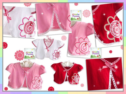 Little Baby Cardigan Flower Ladybug (WHITE / PINK / RED) [BABY_CARDIGAN_01]