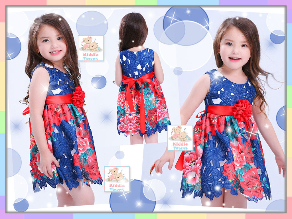 READY STOCK: Scattered Rose Flower Frosting Gown (BLUE) [EUR_GIRL_DRESS_29]