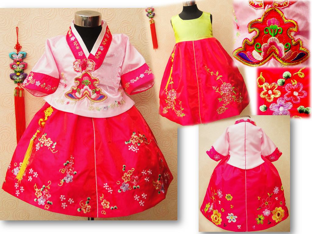 READY STOCK: Small Flower Korean Gown Set (PINK Coat + DARK PINK Gown) [KOREAN_GOWN_H02B]