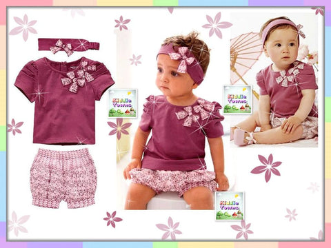 SALES: Purple Ribbon 3pcs Set (Tee + Pant + Hairband) [GIRLSET_S01]