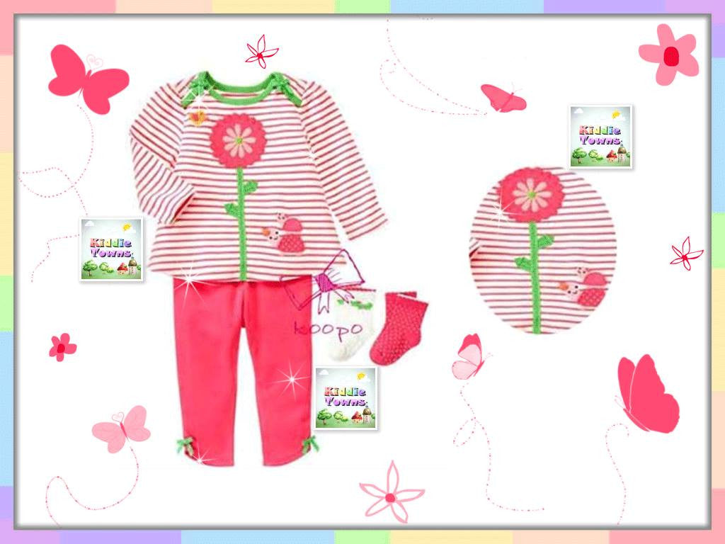 SALES: Sweet Sunflower Stripe 2pcs Set [GIRLSET_SUNFLOWER]