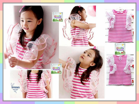 SALES: Flying Sleeve Girl Tshirt (PINK Stripe) [KORN_GIRL_TOP_5A]