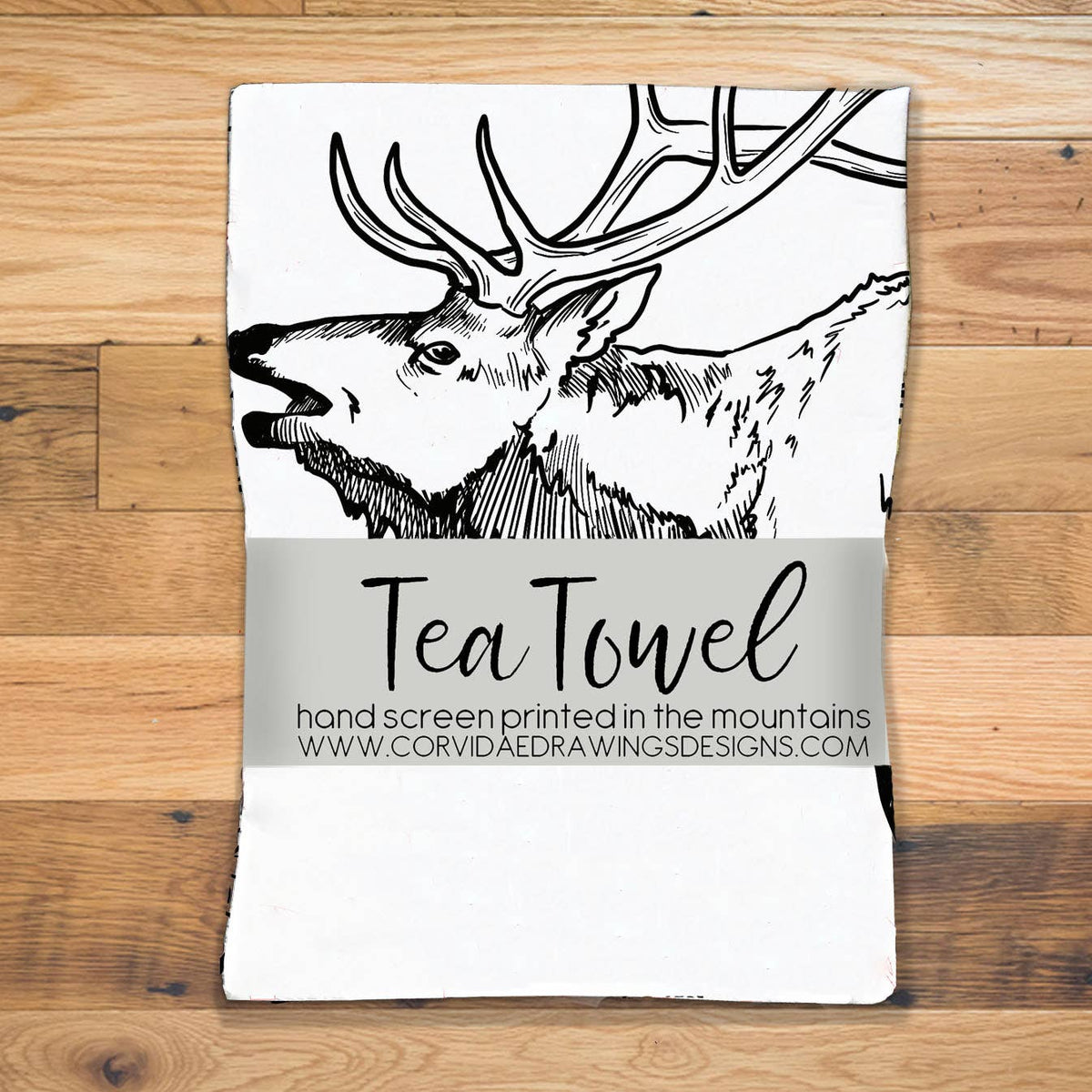 Elk Screen Printed Tea Towel