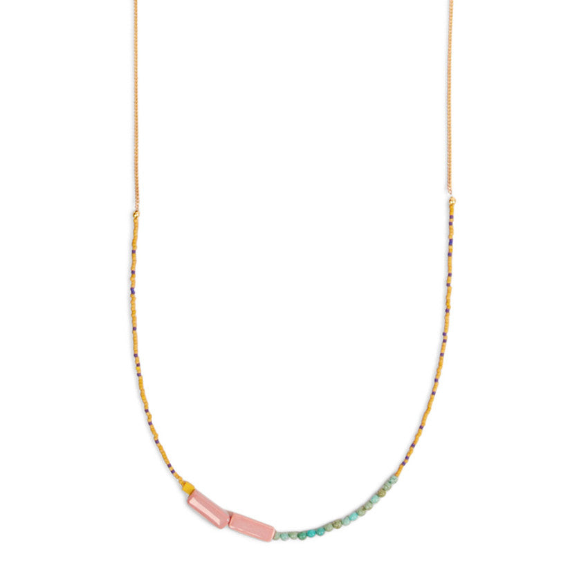 Beaded Colorblocked Long Necklace