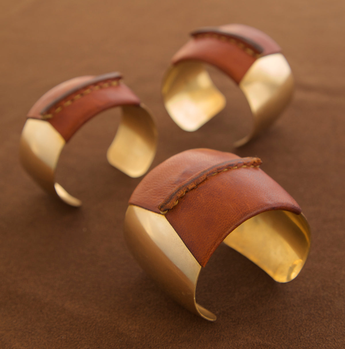 Domed Brass Leather Cuff