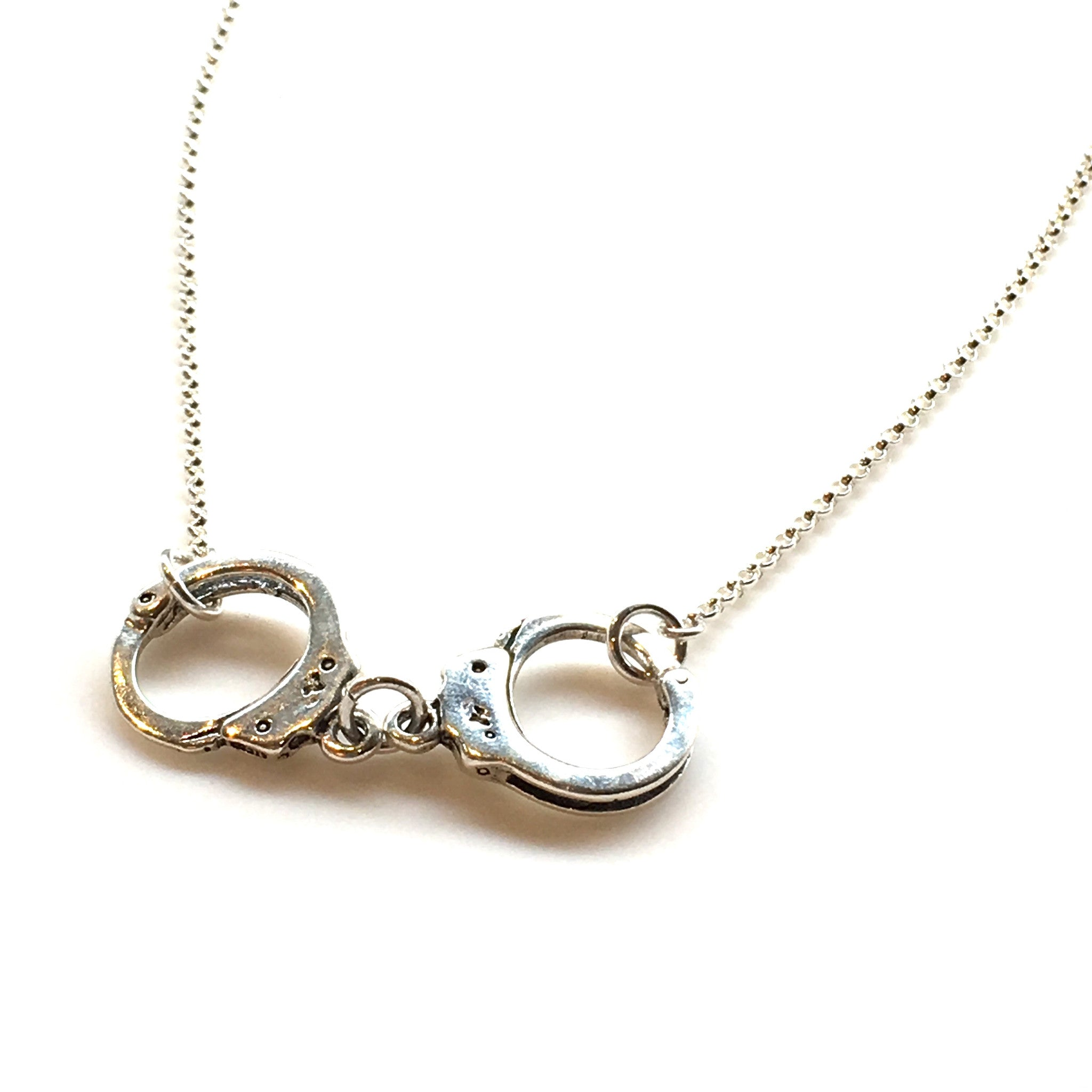 Handcuff necklace in sterling silver made handcuff necklace in sterling silver aloadofball Image collections