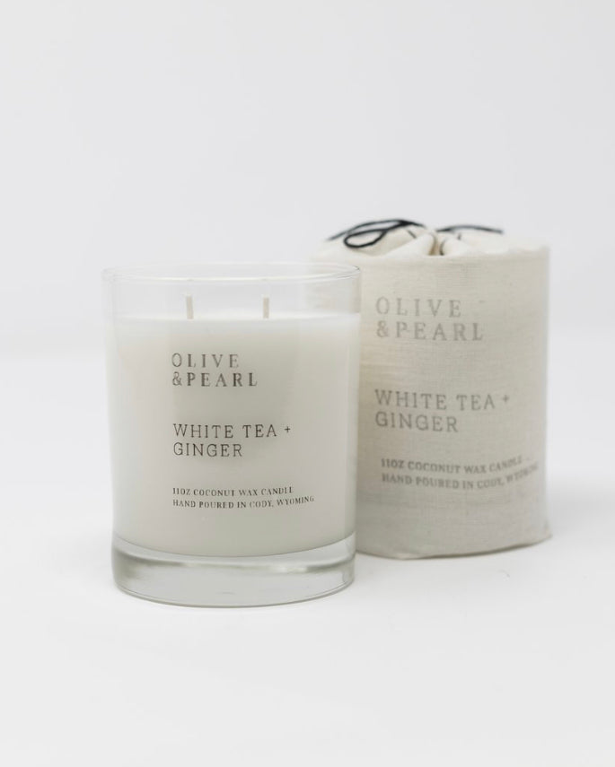 Olive & Pearl Candle - White Tea + Ginger