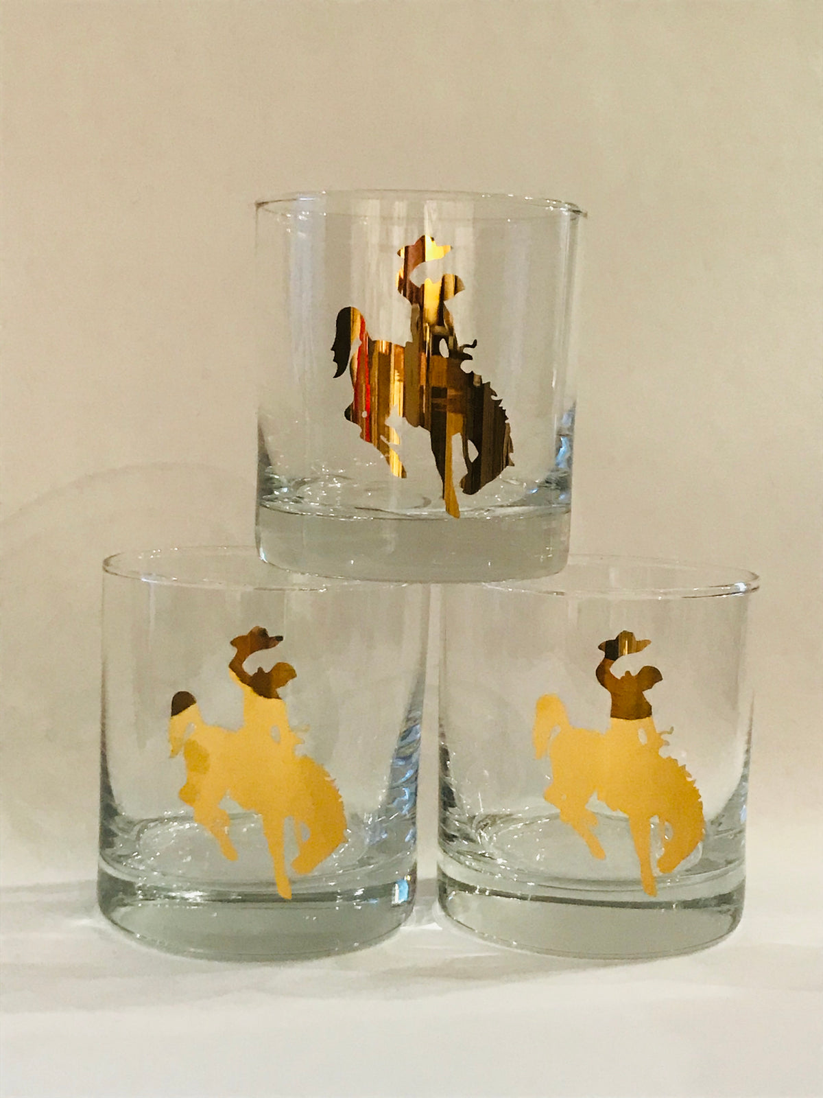 20 K Gold Bronco Rocks / Old Fashioned Glasses